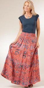 Treasures of Bali Mandarin Twilight Floral Maxi Skirt