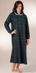 Long-Flannel-Nightgown-Lanz-Black-Watch-Plaid-CL563687-973-B