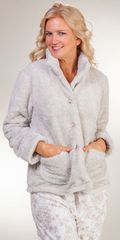 Snuggle-Fleece-Bed-Jacket-La-Cera-Taupe-8826-B