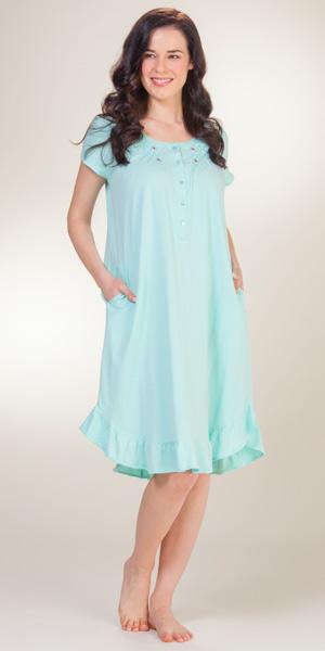 ARIA Plus Size Cotton Knit Night Gown House Dress Cornflower Blue