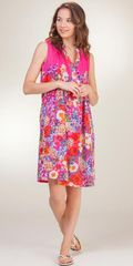 Sleeveless-Short-Pleated-Sundress-La-Cera-Pink-Vision-2159-210-B