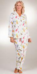 Flannel-Pajamas-La-Cera-Porcelain-Cats-13201-564-B