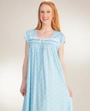 Eileen-West-Short-Sleeve-Cotton-Knit-Nightgown-Aqua-Star-C5416037-451-A