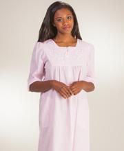 Long-Zip-Front-Seersucker-Robe-Miss-Elaine-Pink-Stripe-869686-148-A