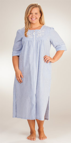Plus-Long-Seersucker-Robe-Miss-Elaine-Navy-Stripe-869686X-147-B