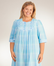Plus-Long-Seersucker-Robe-Miss-Elaine-Blue-Plaid-869636-947-A