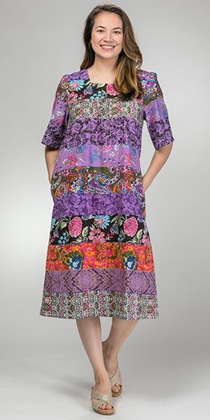Short-Sleeve-Cotton-Float-Dress-La-Cera-Patchwork-Floral-2230-223PUR-B
